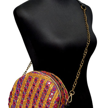 Exclusive Tribal Vintage Canteen-Shaped Handbag with Golden Zari Embroidery, Antique Threadwork and Tassels (03)