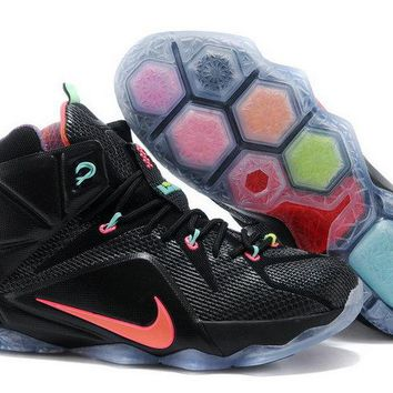 nike shoes men's casual Lebron XII 12 Data Black Bright Mango Hyper Punch Volt 684593 068 Brand sneaker