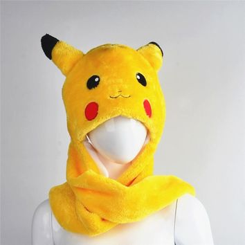 Pokemon Go Pikachu hats Cotton Cartoon Plush Toys Beanie Animal  Christmas Present  Plush Winter Hat Caps