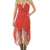 Belted High-Low Lace Dress   Shop Dresses at Wet Seal