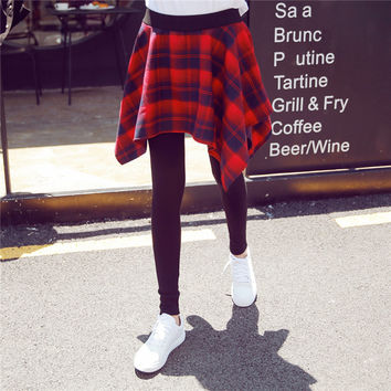Korean Women's Fashion Shirt Plaid Dress Leggings [11405184911]