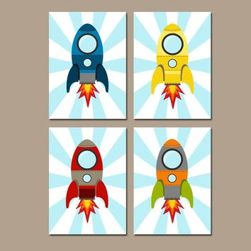 ROCKET SHIP Wall Art, Baby Boy Nursery Decor, Big Boy Bedroom Pictures, CANVAS or Prints Rocket Space Theme Outer Space Rockets Set of 4