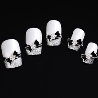 Yesurprise Black Bow Tie 10 pieces Silver 3D Alloy Nail Art Slices Glitters DIY Decorations