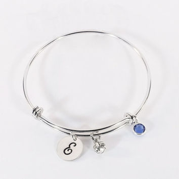 Hand Stamped Volleyball Initial Charm Bracelet, Volleyball Bangle Bracelet with Sterling Volleyballl Charm and Swarovski Crystal Birthstone