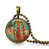 Lady of Guadalupe Glass Tile Pendant Necklace