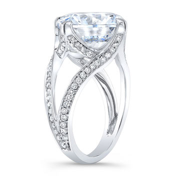 Women's 18k engagement ring with pave halo Round Diamonds and 7 ct Center White Sapphire