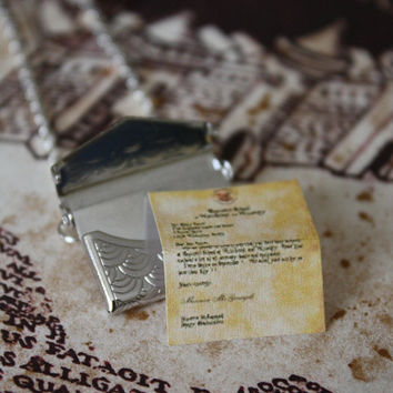 Harry Potter Necklace  Hogwarts Acceptance Letter by spacepearls