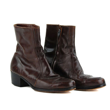 Vintage Florsheim Brown Leather Worn In Motorcycle Skinny Ankle Riding Boots / Size US 8 EU 38