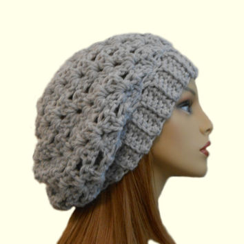 SLOUCHY Hat Crochet Knit Wool Light Gray Chunky Slouchy Beanie Slouch Beany Silver Women Hats Accessories Teen Winter Hat Gift Idea