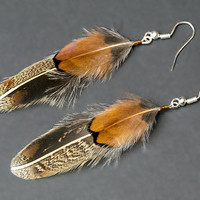 Autumn feather earrings, native american earring, natural feather earring, boho earring, autumn colors, hippie earrings, indian earrings
