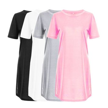 Women Summer Long Style T shirt Short Sleeve Causal Sexy Loose Split Solid Tops Ladies Girls Pink Black Silver White T-shirt