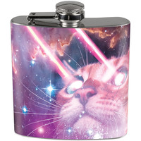 Galaxy Cat Laser Beams Funny Full Wrap Steel Flask