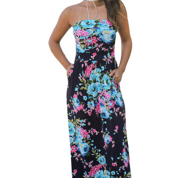 Navy Pink Floral Strapless Maxi Dress With Pockets LAVELIQ