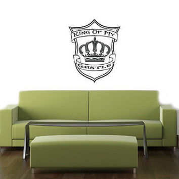 KING OF MY CASTLE CROWN CUTE WALL VINYL STICKER  DECALS ART MURAL T355