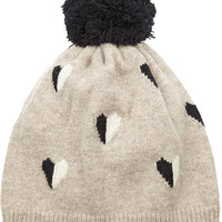 Chinti and Parker - Queen of Hearts intarsia wool beanie