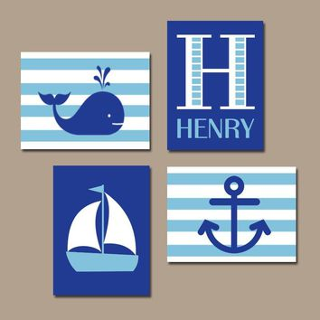 BOY Nautical Wall Art, Hampton Whale Sailboat Anchor, Baby Nursery Decor, Blue Bedroom, Nautical Theme Decor, CANVAS or Prints, Set of 4
