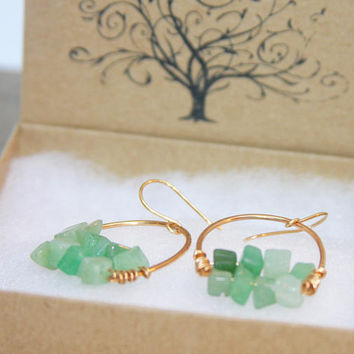 Aventurine Hoop Dangle Earrings, Green Gemstone Hoop Earrings, Bronze Dangle Earrings, Boho Hoop Earrings, Artisan Hoop Earrings