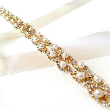 Rose gold champagne pearl bridal belt wedding sash