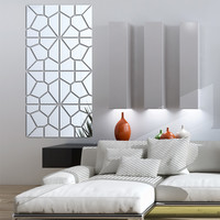 2016 new wall stickers living home decor modern acrylic mirror fashion pattern large big 3d wall sticker diy real free shipping