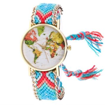 Boho Watches Women Map Knitted Weaved Rope Band Round Dial Bracelet Quartz Wrist Watch For Women relogio feminino #609