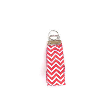 Red Chevron Key Chain,  wristlet,  Key Fob on Red Gingham Plaid