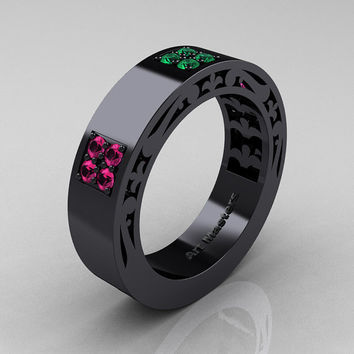 Mens Modern Vintage 14K Black Gold Pink Sapphire Emerald Wedding Band R474M-14KBGEMPS