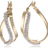 Amazon.com: 14k Italian Yellow Gold Twisted Double Cubic Zirconia Hoop Earrings: Jewelry