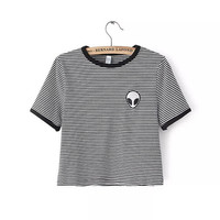Women's Alien T-shirt, Striped or Grey