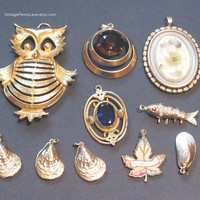 Salvaged Vintage Gold Charm Lot, Destash Findings / Pendants, Jewelry Making Supplies