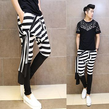 2017 Japanese new man fashion casual harem pants striped patchwork men's Korean fashion personality pants