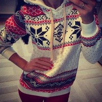 PEAPDQ7 New Womens Christmas Snowflake Sweater Pullovers