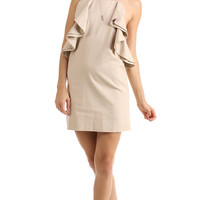 TAUPE BACKLESS RUFFLED DRESS