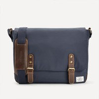 Nylon & Leather Messenger in Navy