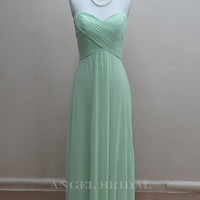 Simple  Chiffon Light sage Long bridesmaid dress, bridal Party dress, bridesmaid gowns, Long Bridesmaid Dress With Sweetheart Neckline