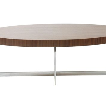 Oliver Round Coffee Table in Walnut with Chrome Base