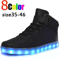 8 Colours USB charging led luminous shoes men women Leather Waterproof shoes luminous glowing sneakers light up sneakers Men shoes for adults glow in the dark shoe size 35-46