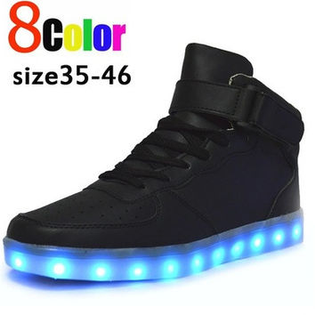 8 Colours USB charging led luminous shoes men women Leather Waterproof shoes luminous glowing sneakers light up sneakers Men shoes for adults glow in the dark shoe size 35-46 [9302373002]