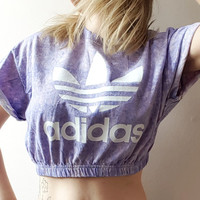 Reworked acid wash adidas crop top
