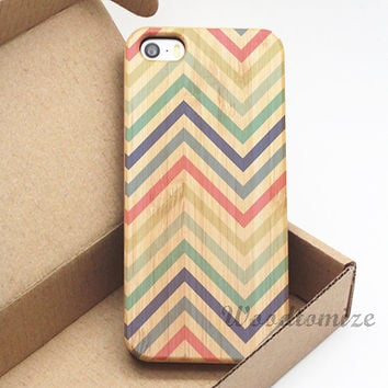 Chevron zigzag wood case - iPhone 5C case, iPhone 5S 5 case, iPhone 4S 4 case, Wood cover, Bamboo, Cherry wood, FREE screen protector - A58