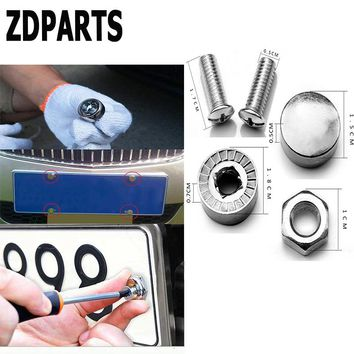 ZDPARTS 16X Car Styling License Plate Nuts Bolts Screws Cover For Skoda Octavia A5 A7 2 Rapid Fabia Yeti Superb Volvo V70 XC60