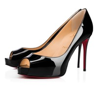 Best Online Sale Christian Louboutin Cl New Very Prive Black Patent Leather 100mm Stiletto Heel