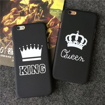 QUEEN & KING Pattern Printed Phone Case Lovers Couple Hard Plastic Back Cover for iPhone 5 / iPhone5s / iPhone SE / iPhone 6 6 P