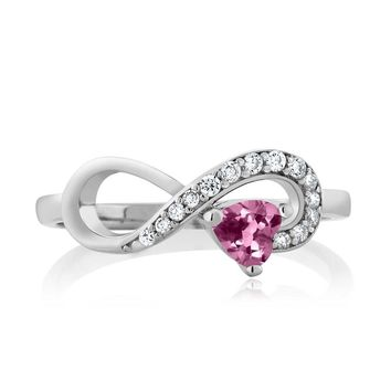 Sterling Silver Heart Shape Pink Tourmaline Jewelry Women's Infinity Ring (0.32 cttw, Available in size 5, 6, 7, 8, 9)