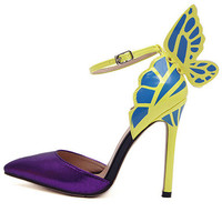 Yellow Stiletto Heel Butterfly PU Leather Sandals