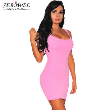 S Type Curve Cotton  Dress  Mini Casual Dress Bodycon Sleeveless Short Party Dress Cute Sundress Vestidos SM6
