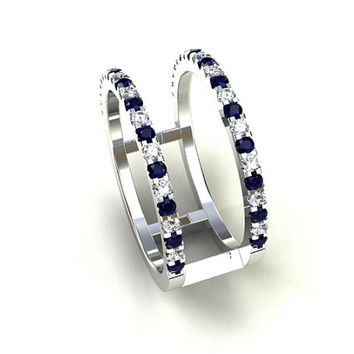 Blue sapphire and diamond ring, diamond engagement ring, white gold wedding, wide sapphire band, modern, blue, anniversary, sapphire wedding