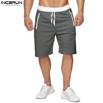 INCERUN Mens Sweat Shorts New Men's Board Shorts Casual Workout bodybuilding Shorts With Zipper Pockets Quick Dry Shorts Men