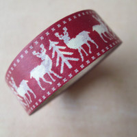 Washi Tape - Single Roll - Red and Creme Reindeer