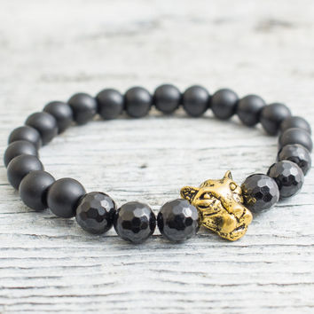 Matte black onyx and faceted black onyx beaded gold Leopard head stretchy bracelet, yoga bracelet, mens bracelet, womens bracelet