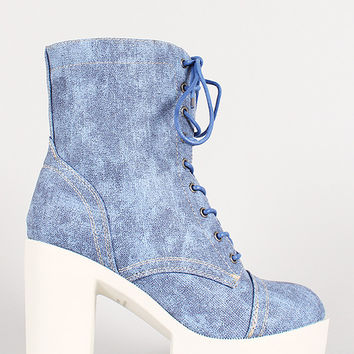 Denim Print Leatherette Lace Up Lug Sole Platform Boot